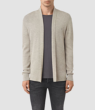 Hommes Mode Merino Open Cardigan (Smoke Grey Marl)
