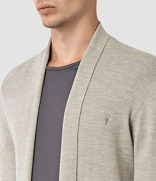 Hombres Mode Merino Open Cardigan (Smoke Grey Marl) - product_image_alt_text_2