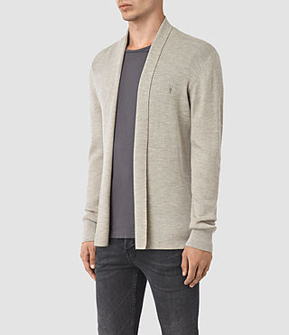 Hombres Mode Merino Open Cardigan (Smoke Grey Marl) - product_image_alt_text_3