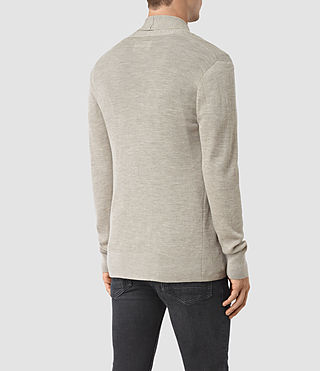 Hombres Mode Merino Open Cardigan (Smoke Grey Marl) - product_image_alt_text_4
