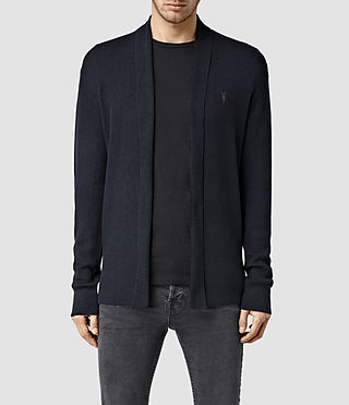 Mens Mode Merino Open Cardigan (Ink) - product_image_alt_text_1