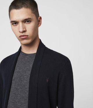 Mens Mode Merino Open Cardigan (INK NAVY) - product_image_alt_text_2