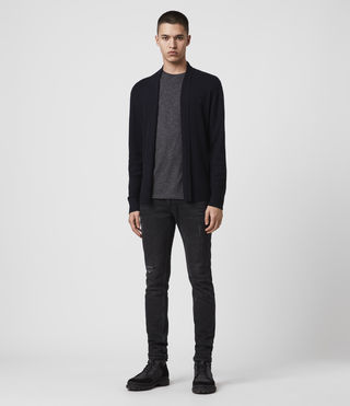 Mens Mode Merino Open Cardigan (INK NAVY) - product_image_alt_text_3