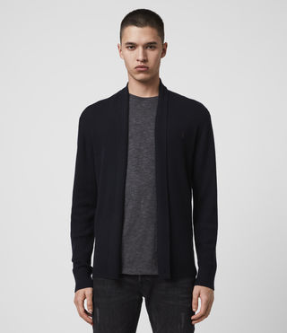 Men's Mode Merino Open Cardigan (INK NAVY) - product_image_alt_text_4