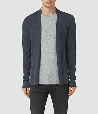 Mens Mode Merino Open Cardigan (WORKERS BLUE MARL) - product_image_alt_text_1