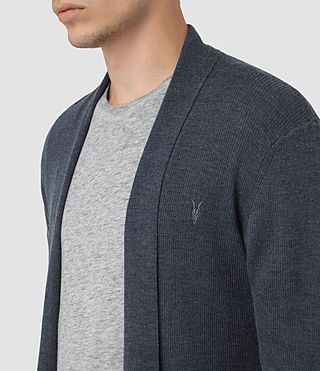 Mens Mode Merino Open Cardigan (WORKERS BLUE MARL) - product_image_alt_text_2