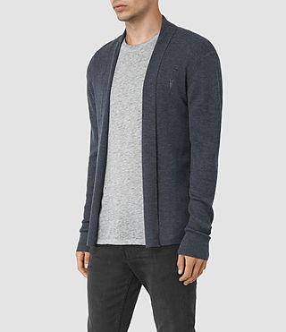 Mens Mode Merino Open Cardigan (WORKERS BLUE MARL) - product_image_alt_text_3