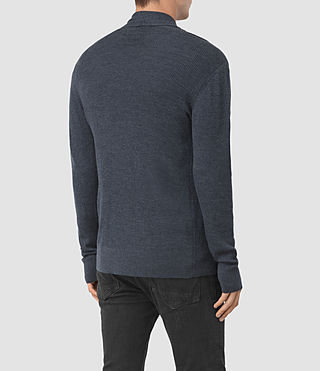 Mens Mode Merino Open Cardigan (WORKERS BLUE MARL) - product_image_alt_text_4