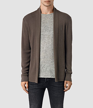 Mens Mode Merino Open Cardigan (Pewter Brown)