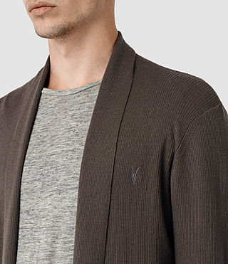 Uomo Mode Merino Open Cardigan (Pewter Brown) - product_image_alt_text_2