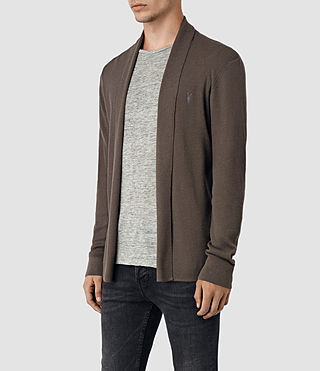 Uomo Mode Merino Open Cardigan (Pewter Brown) - product_image_alt_text_3