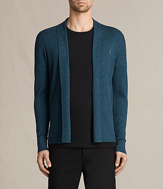 Mens Mode Merino Open Cardigan (UNIFORM BLUE) - product_image_alt_text_1