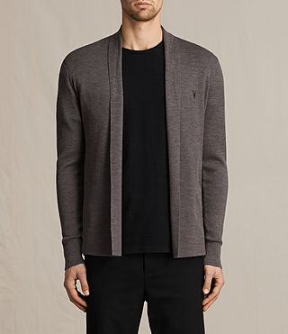 Mens Mode Merino Open Cardigan (COAL GREY MARL)