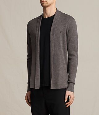 Mens Mode Merino Open Cardigan (COAL GREY MARL) - product_image_alt_text_3