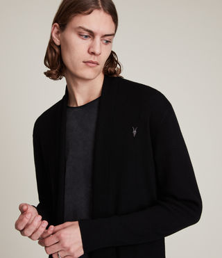 Herren Mode Merino Open Cardigan (Black) - product_image_alt_text_2