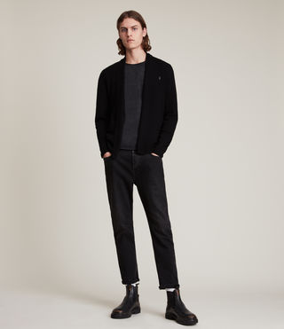 Hommes Mode Merino Open Cardigan (Black) - product_image_alt_text_3