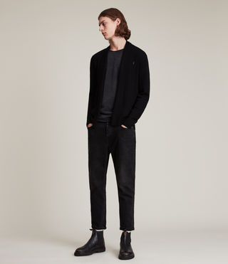 Hommes Mode Merino Open Cardigan (Black) - product_image_alt_text_4