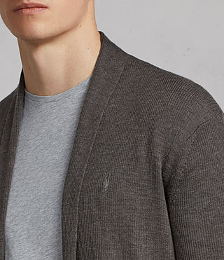 Men's Mode Merino Open Cardigan (HEATH GREY MARL) - Image 2