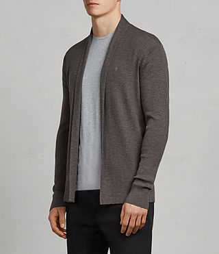 Men's Mode Merino Open Cardigan (HEATH GREY MARL) - Image 3