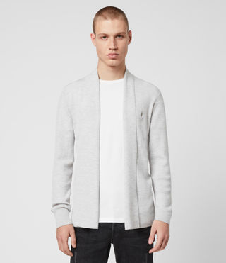 Hommes Mode Merino Open Cardigan (Light Grey Marl)