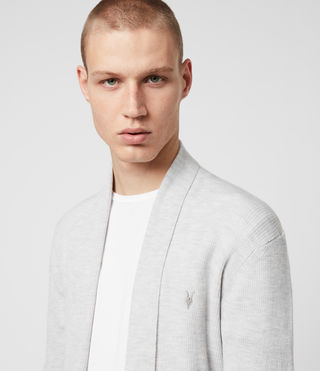 Hommes Cardigan Mode Merino (Light Grey Marl) - Image 2