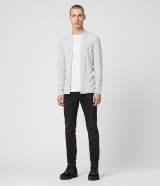 Men's Mode Merino Open Cardigan (Light Grey Marl) - product_image_alt_text_3