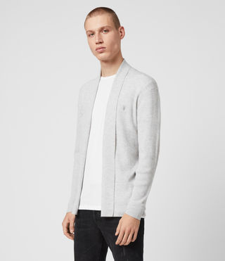 Mens Mode Merino Open Cardigan (Light Grey Marl) - Image 4