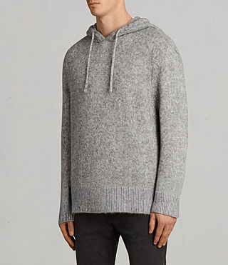 Men's Harnden Knitted Hoody (Grey Marl) - Image 3