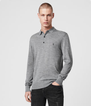Mens Mode Merino Long Sleeved Polo (Grey Marl) - Image 1