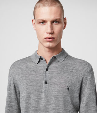 Mens Mode Merino Long Sleeved Polo (Grey Marl) - Image 2
