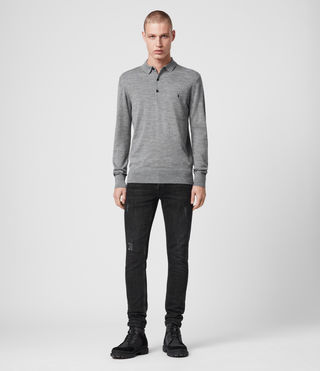 Hommes Mode Merino Long Sleeved Polo (Grey Marl) - product_image_alt_text_3