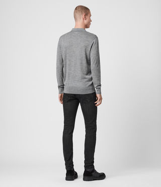 Mens Mode Merino Long Sleeved Polo (Grey Marl) - Image 4