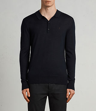 Hombres Mode Merino Long Sleeve Polo Shirt (INK NAVY)