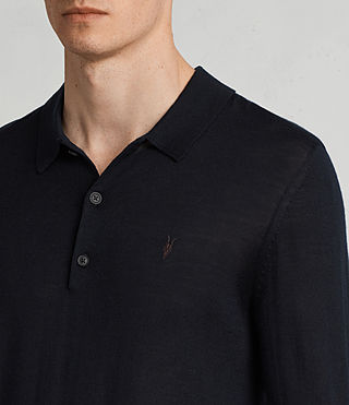 Herren Mode Merino Long Sleeve Polo Shirt (INK NAVY) - product_image_alt_text_2
