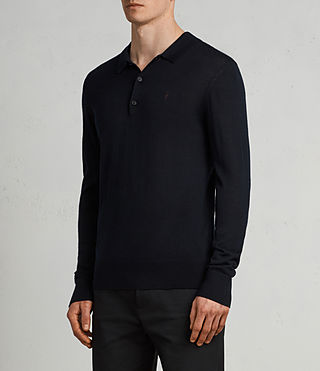 Herren Mode Merino Long Sleeve Polo Shirt (INK NAVY) - product_image_alt_text_3