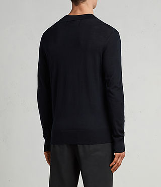 Herren Mode Merino Long Sleeve Polo Shirt (INK NAVY) - product_image_alt_text_4