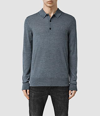 Men's Mode Merino Long Sleeved Polo (DeepOcean Blue Mrl)