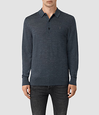 Uomo Mode Merino Long Sleeve Polo Shirt (WORKERS BLUE MARL)