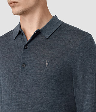Mens Mode Merino Long Sleeve Polo Shirt (WORKERS BLUE MARL) - product_image_alt_text_2