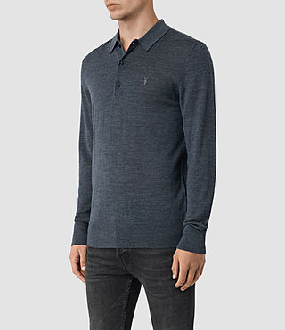 Hombres Mode Merino Long Sleeve Polo Shirt (WORKERS BLUE MARL) - product_image_alt_text_3