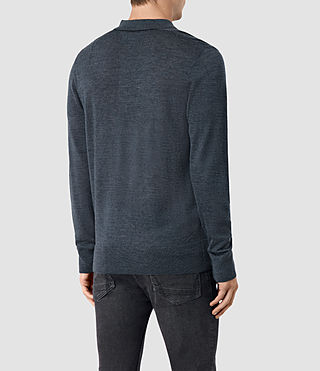 Hombres Mode Merino Long Sleeve Polo Shirt (WORKERS BLUE MARL) - product_image_alt_text_4