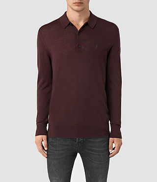 Hombre Mode Merino Long Sleeve Polo Shirt (Damson Red) - product_image_alt_text_1