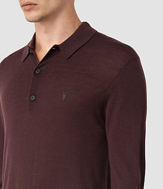 Mens Mode Merino Long Sleeve Polo Shirt (Damson Red) - product_image_alt_text_2
