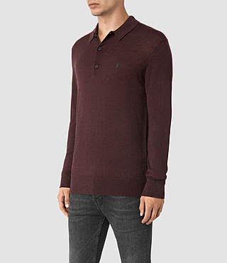Mens Mode Merino Long Sleeve Polo Shirt (Damson Red) - product_image_alt_text_3