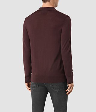 Hombre Mode Merino Long Sleeve Polo Shirt (Damson Red) - product_image_alt_text_4
