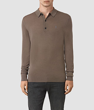 Mens Mode Merino Long Sleeve Polo Shirt (Pewter Brown) - product_image_alt_text_1