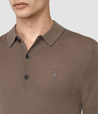 Mens Mode Merino Long Sleeve Polo Shirt (Pewter Brown) - product_image_alt_text_2