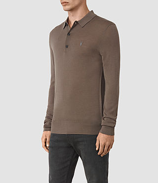 Mens Mode Merino Long Sleeve Polo Shirt (Pewter Brown) - product_image_alt_text_3