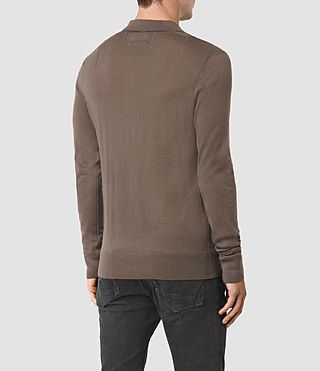 Mens Mode Merino Long Sleeve Polo Shirt (Pewter Brown) - product_image_alt_text_4
