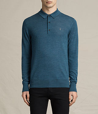 Hommes Mode Merino Long Sleeve Polo (UNIFORM BLUE)